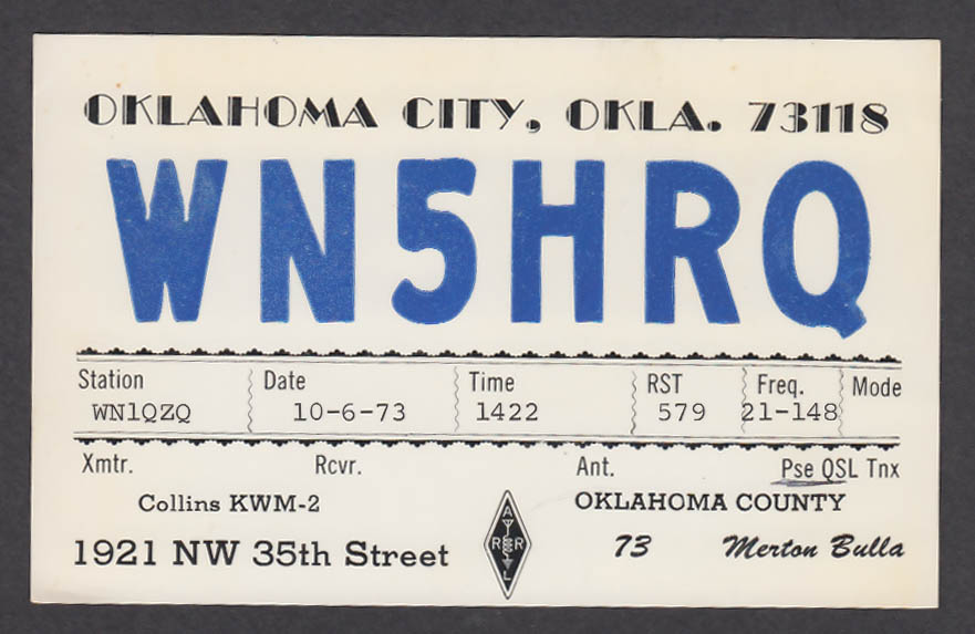 Image for WN5HRQ Merton Bulla Oklahoma City OK QSL postcard 1973