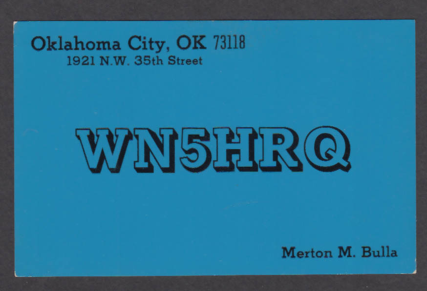 Image for WN5HRQ Merton Bulla 1921 NW 35th St Oklahoma City OK QSL postcard 1972