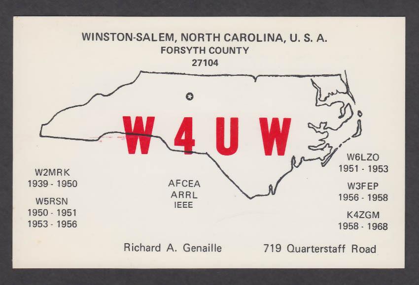 Image for W4UW Richard Genaille 719 Quarterstaff Rd Winston-Salem NC QSL postcard 1976