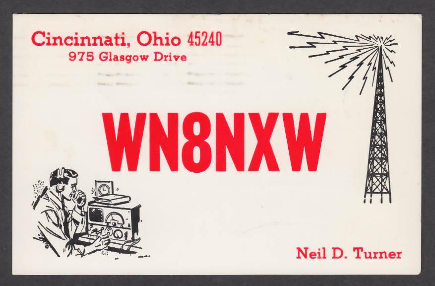 Image for WN8NXW Neil D Turner 975 Glasgow Dr Cincinnati OH QSL postcard 1973