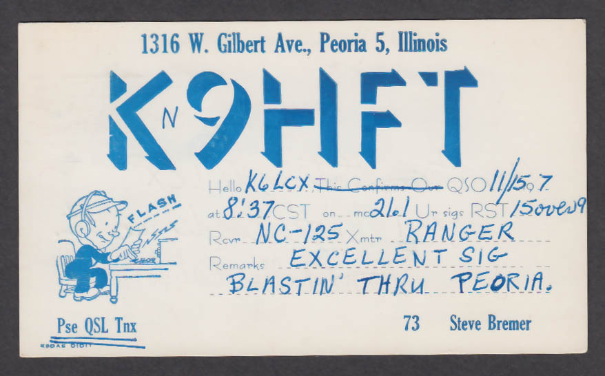 Image for K9HFT Steve Bremer 1316 W Gilbert Ave Peoria IL QSL postcard 1970s