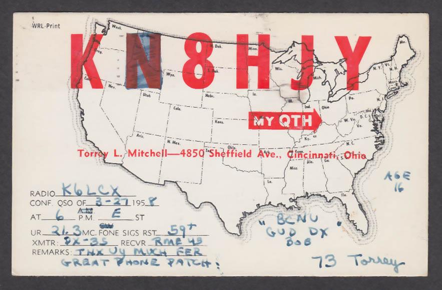 Image for K8HJY Torrey L Mitchell 4850 Sheffield Ave Cincinnati OH QSL postcard 1958