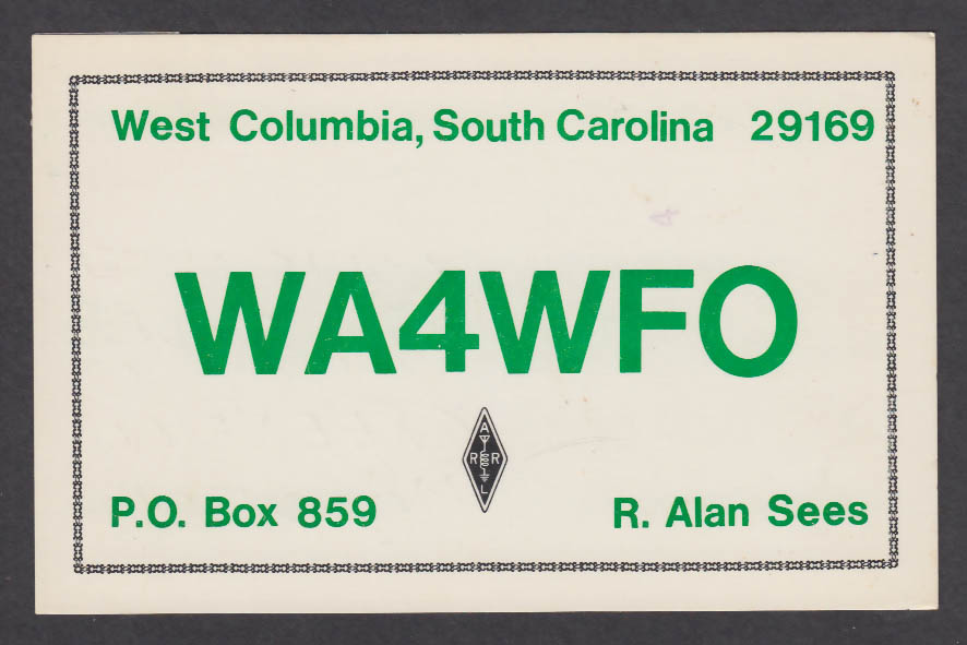Image for WA4WFO Alan Sees West Columbia SC QSL postcard 1979