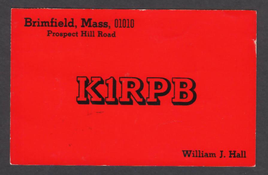 Image for K1RPB William J Hall Brimfield MA QSL postcard 1974