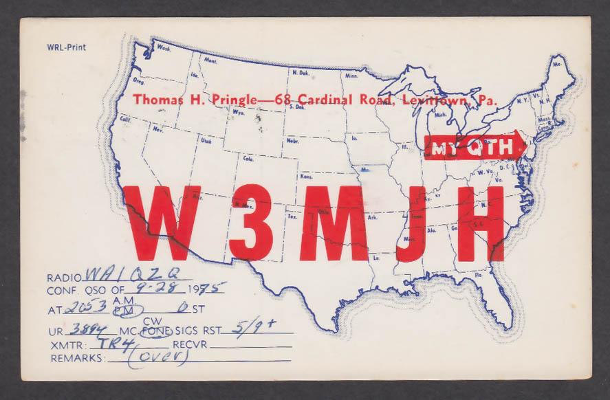 Image for W3MJH Thomas Pringle 68 Cardinal Rd Levittown PA QSL postcard 1975