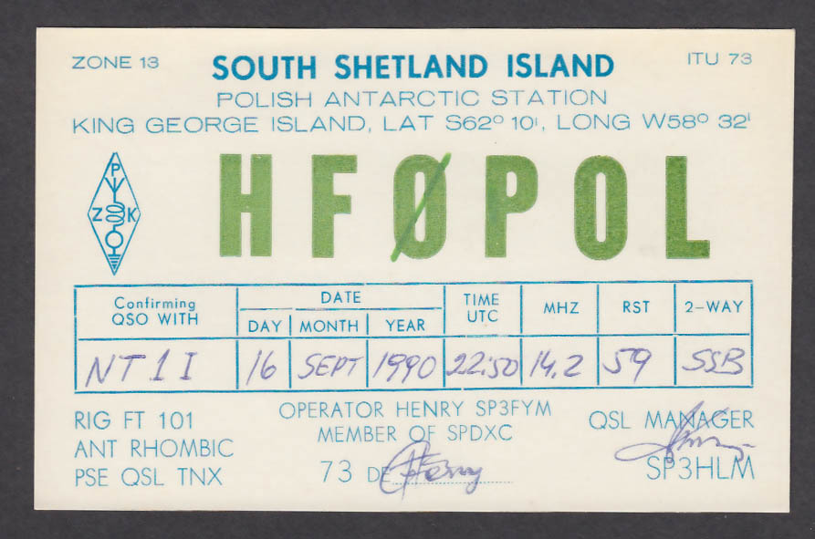Image for HF0POL South Shetland Island Polish Antarctic Station QSL postcard 1990