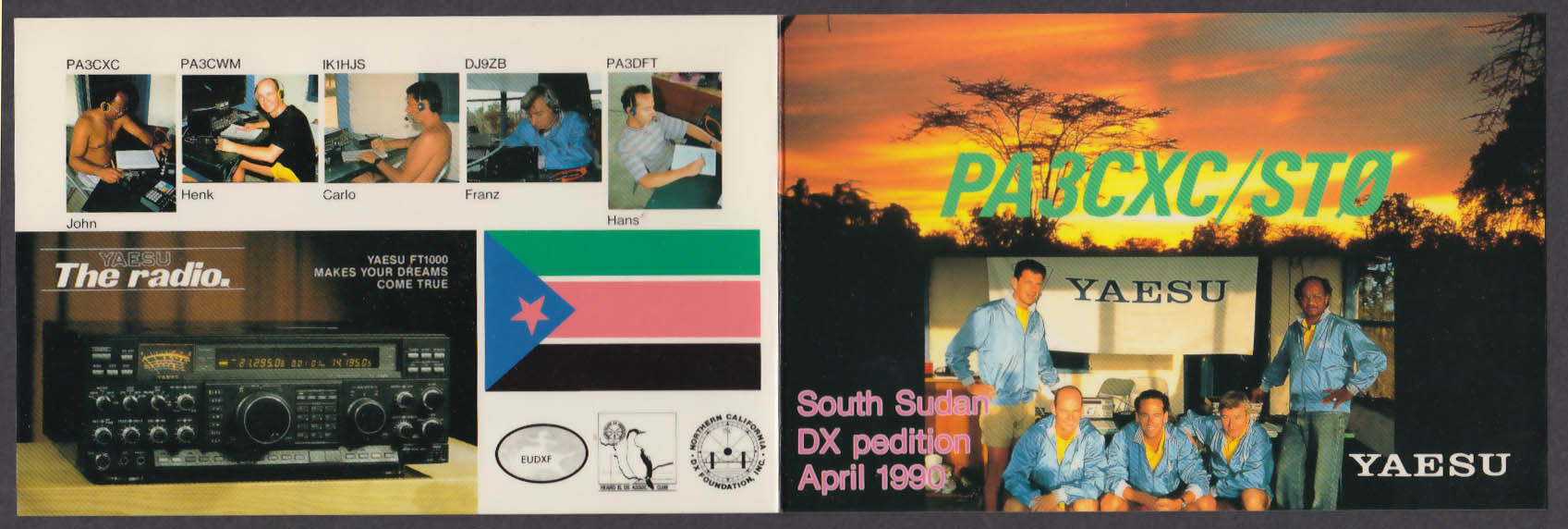 Image for PA3CXC / ST0 South Sudan QSL postcard 1990