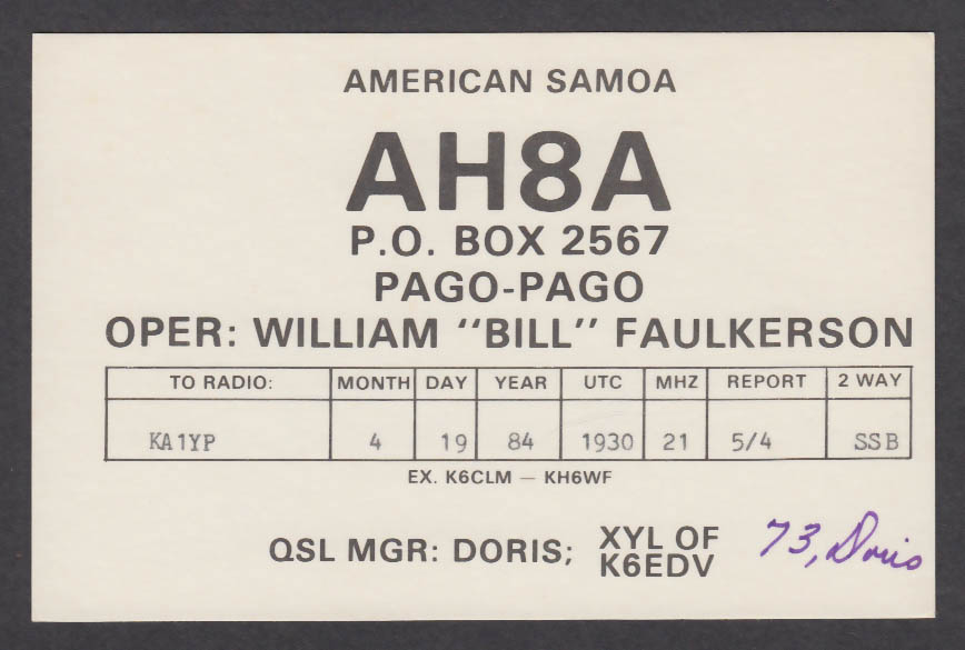 Image for AH8A William Faulkerson Pago-Pago American Samoa QSL postcard 1984