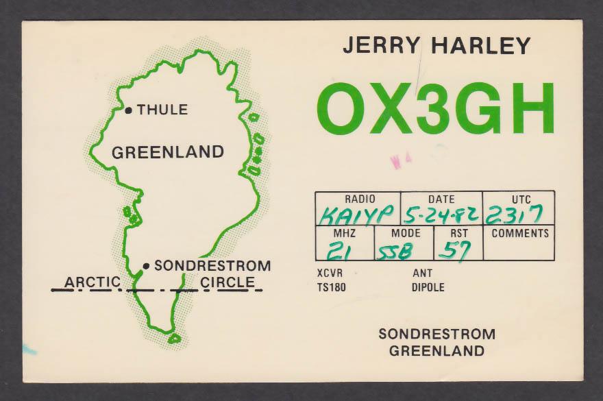 Image for OX3GH Jerry Harley Sondrestrom Greenland QSL postcard 1982