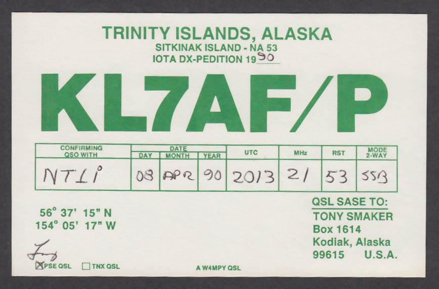 Image for KL7AF/P Tony Smaker Kodiak AK QSL postcard 1990