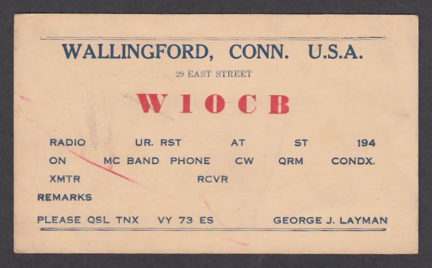 Image for W1OCB George J Layman 29 East St Wallingford CT QSL postcard 1940s