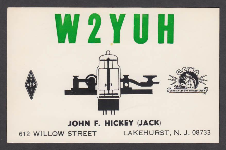 Image for W2YUH John F Hickey 612 Willow St Lakehurst NJ QSL postcard 1979