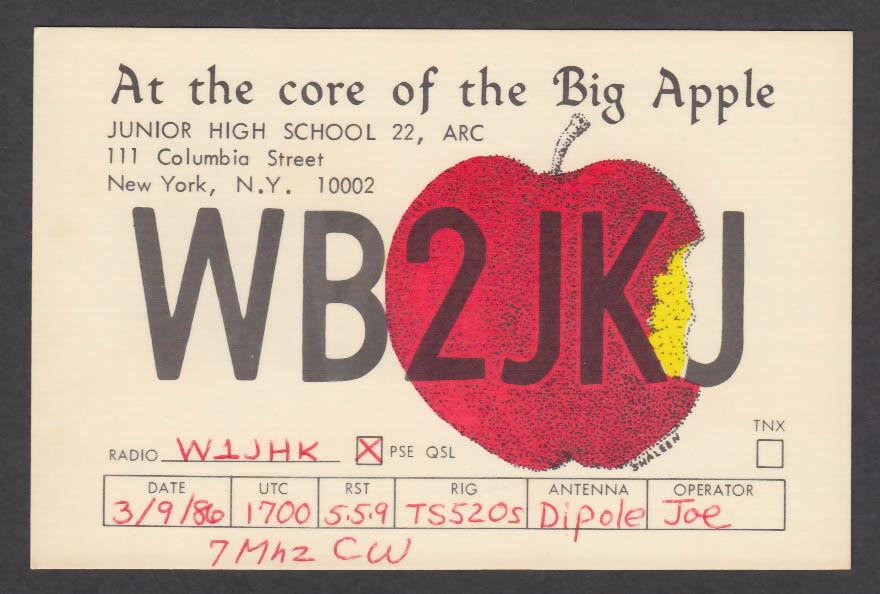 Image for WB2JKJ Junior High School 111 Columbia St New York NY QSL postcard 1986