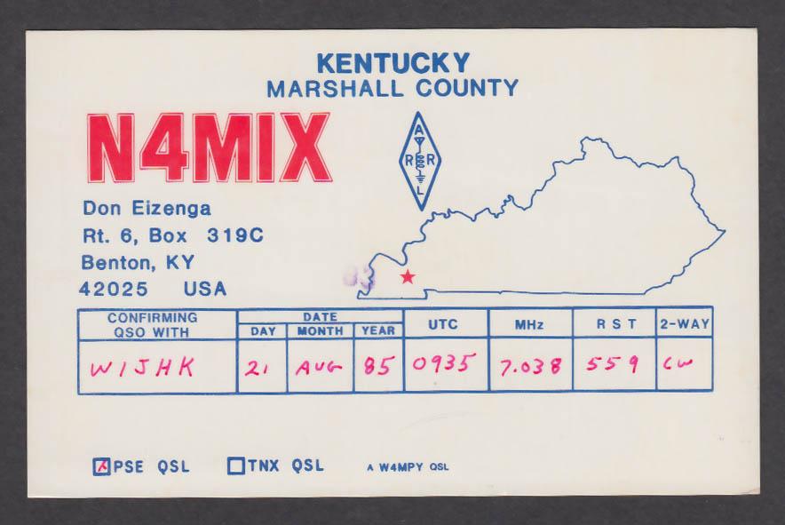 Image for N4MIX Don Eizenga Benton KY QSL postcard 1985