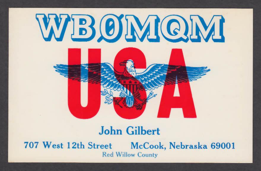 Image for WB0MQM John Gilbert 707 W 12th St McCook NE QSL postcard 1975
