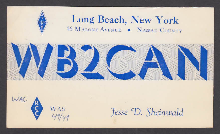Image for WB2CAN Jesse D Sheinwald 46 Malone Ave Long Beach NY QSL postcard 1974