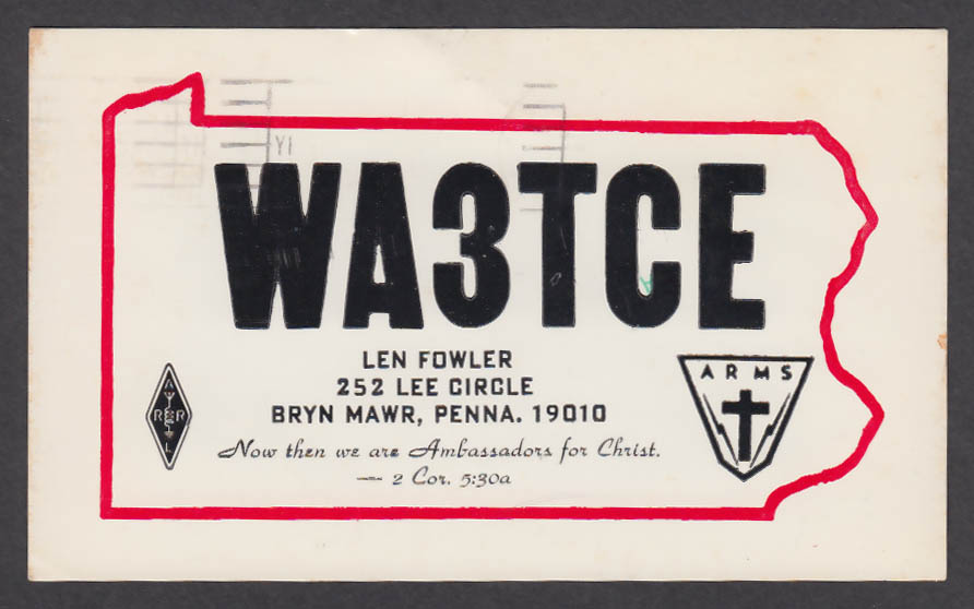Image for WA3TCE Len Fowler 252 Lee Circle Bryn Mawr PA QSL postcard 1975