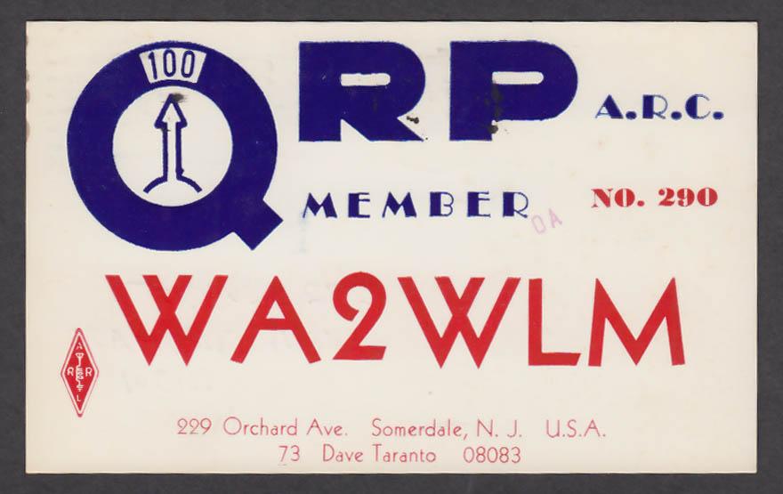 Image for WA2WLM Dave Taranto 229 Orchard Ave Somerdale NJ QSL postcard 1975
