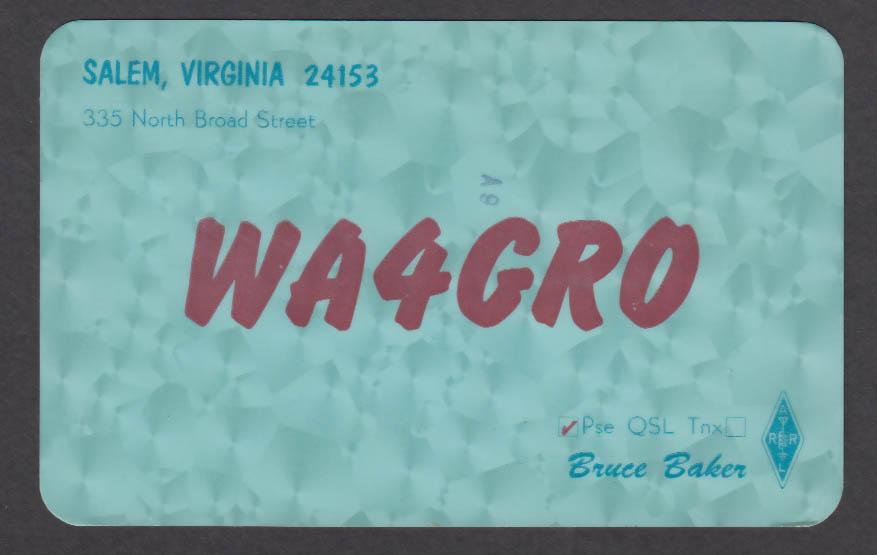 Image for WA4GRO Bruce Baker 335 North Broad St Salem VA QSL postcard 1975