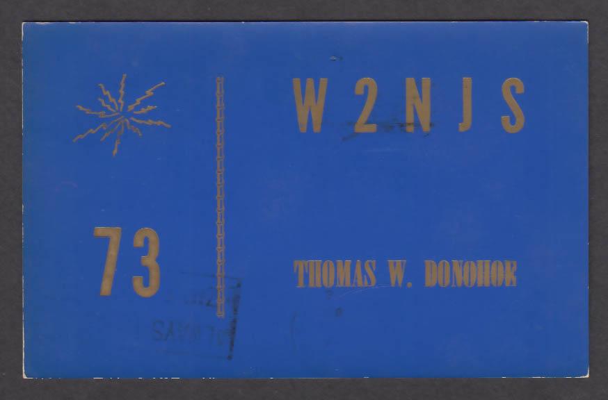 Image for W2NJS Thomas W Donohoe 39 Gramercy Park New York NY QSL postcard 1966
