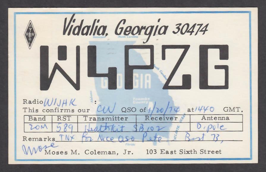 Image for W4PZG Moses M Coleman 103 E 6th St Vidalia GA QSL postcard 1974