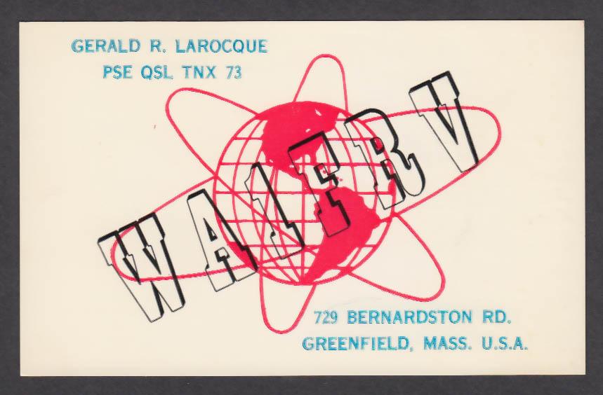 Image for WA1FRV Gerald R Larocque 729 Bernardston Rd Greenfield MA QSL postcard 1966