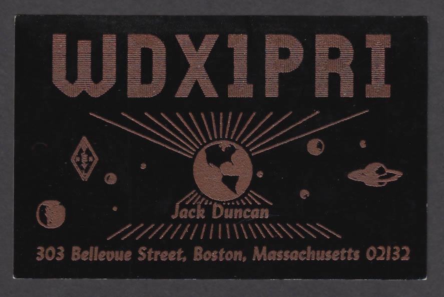 Image for WDX1PRI Jack Duncan 303 Bellevue St Boston MA QSL postcard 1973