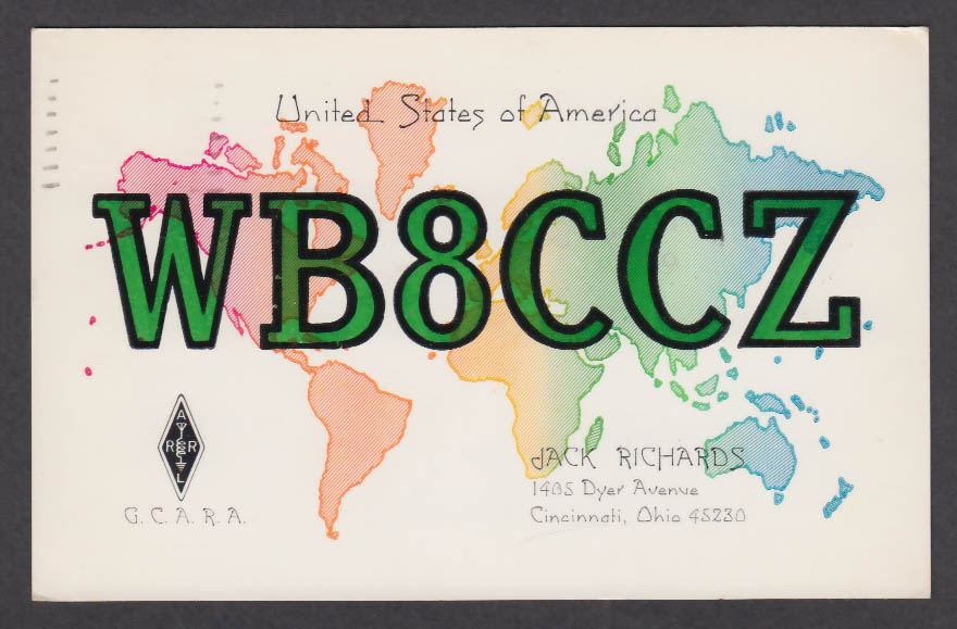 Image for WB8CCZ Jack Richards 1405 Dyer Ave Cincinnati OH QSL postcard 1973