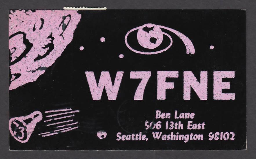 Image for W7FNE Ben Lane 506 13th East Seattle WA QSL postcard 1966