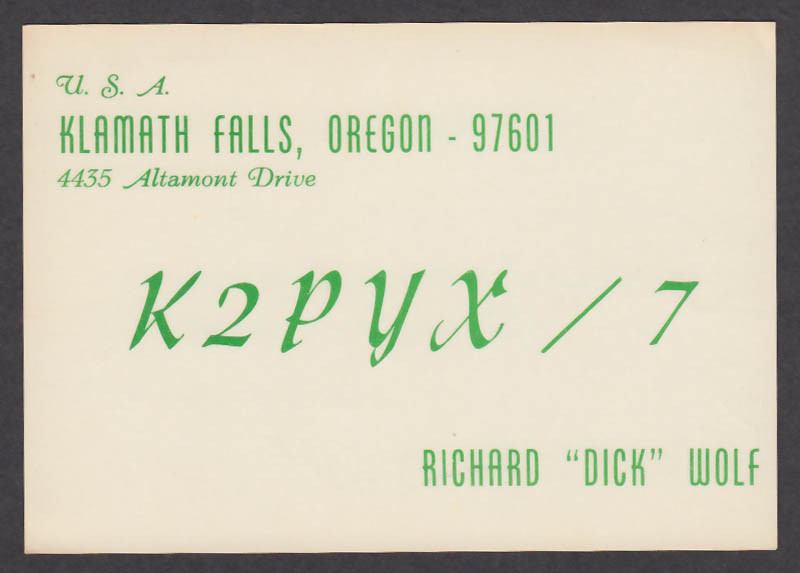 Image for K2PYX Richard Dick Wolf 4435 Altamont Dr Klamath Falls OR QSL postcard 1966