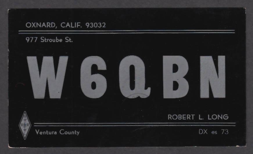 Image for W6QBN Robert L Long 977 Stroube St Oxnard CA QSL postcard 1966