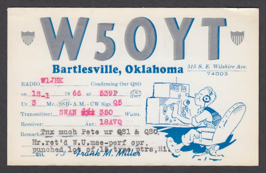 Image for W5OYT Frank M Miller 315 SE Wilshire Ave Bartlesville OK QSL postcard 1966