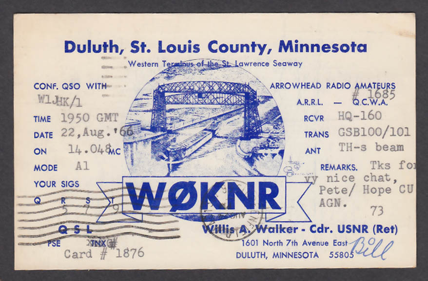 Image for W0KNR Willis Walker 1601 North 7th Ave Duluth MN QSL postcard 1966