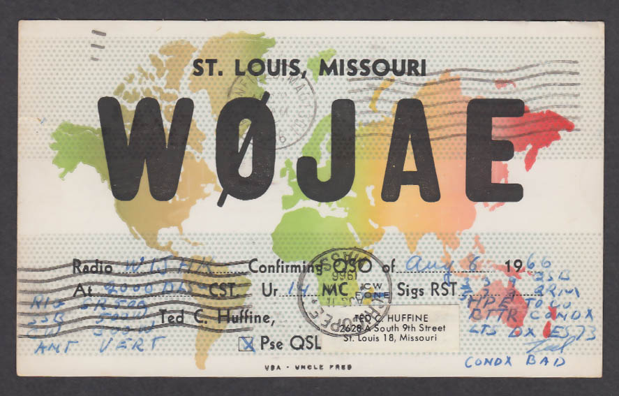 Image for W0JAE Ted C Huffine 2628-A South 9th St Louis MO QSL postcard 1966