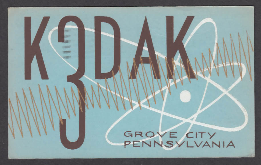 Image for K3DAK Bob McCullough 1307 West Main St Grove City PA QSL postcard 1963