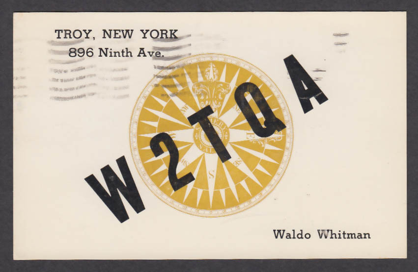 Image for W2TQA Waldo Whitman 896 Ninth Ave Troy NY QSL postcard 1962