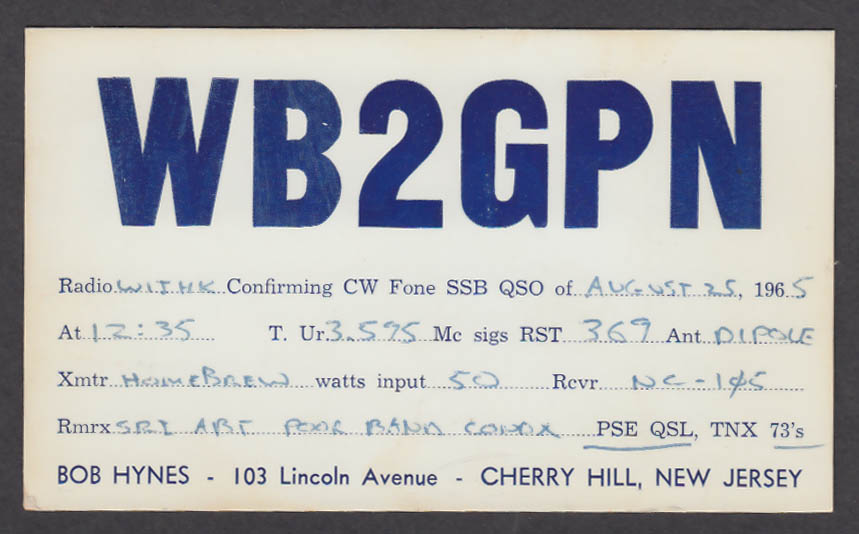 Image for WB2GPN Bob Hynes 103 Lincoln Ave Cherry Hill NJ QSL postcard 1965
