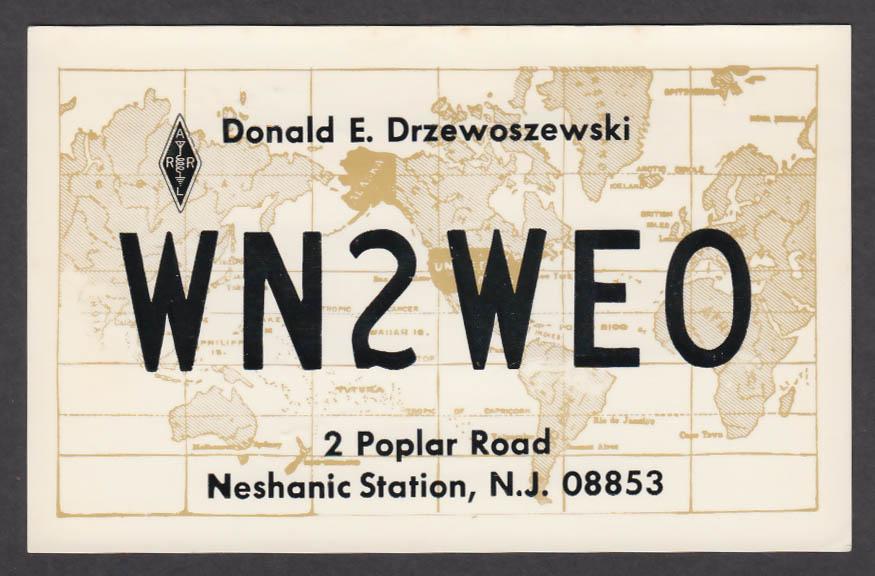 Image for WN2WEO Donald E Drzewoszewski 2 Poplar Rd Neshanic Station NJ QSL postcard 1975