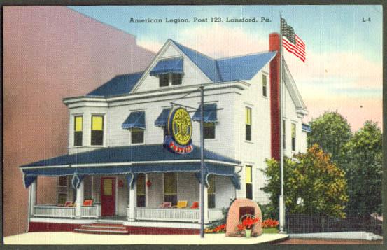 American Legion Post 123 Lansford PA postcard 1940s