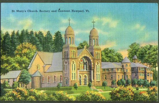 St Mary's & Convent Newport VT postcard 1940s