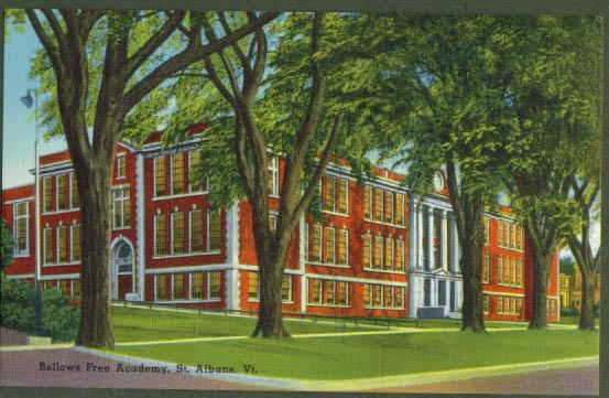 Bellows Free Academy St Albans VT postcard 1940s