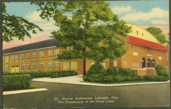Hoover Auditorium Lakeside OH postcard 1940s
