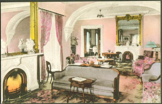 Lounge The Crestwood Rutland VT postcard 1920s