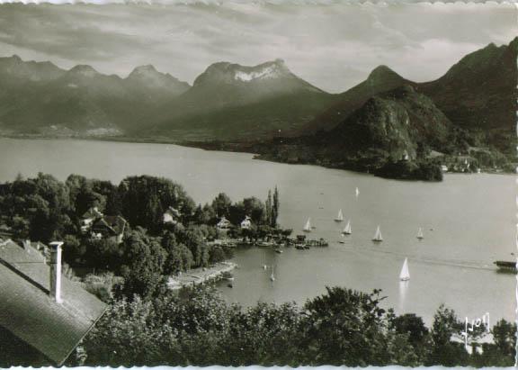 Lac Annecy Talloires RPPC postcard 1940s #4612