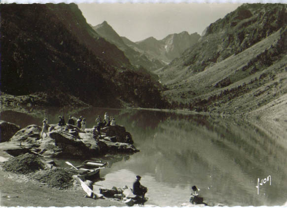 Lac Gaube Pyrenees RPPC postcard 1940s #1461