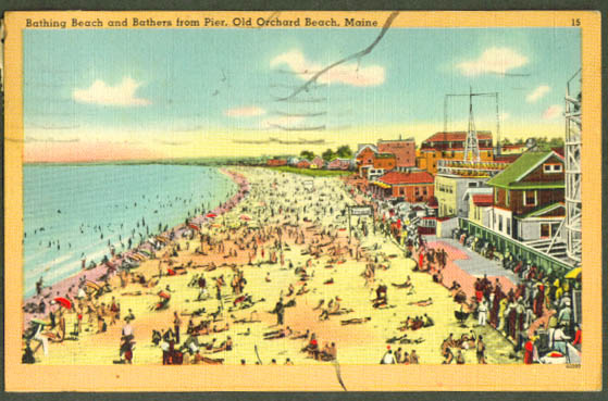 Bathers Old Orchard Beach ME postcard 1949