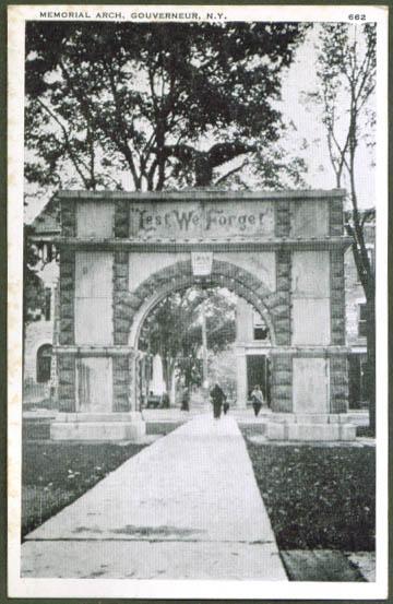 Memorial Arch Gouverneur NY postcard 1948