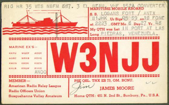 Maritime Mobile Venezuela Ham Radio postcard