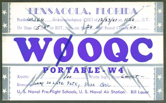 W0OQC Naval Air Pensacola FL QSL Ham Radio postcard 1947