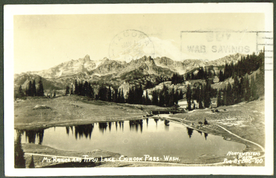 Tipsu Lake Chinook Pass WA RPPC postcard 1944